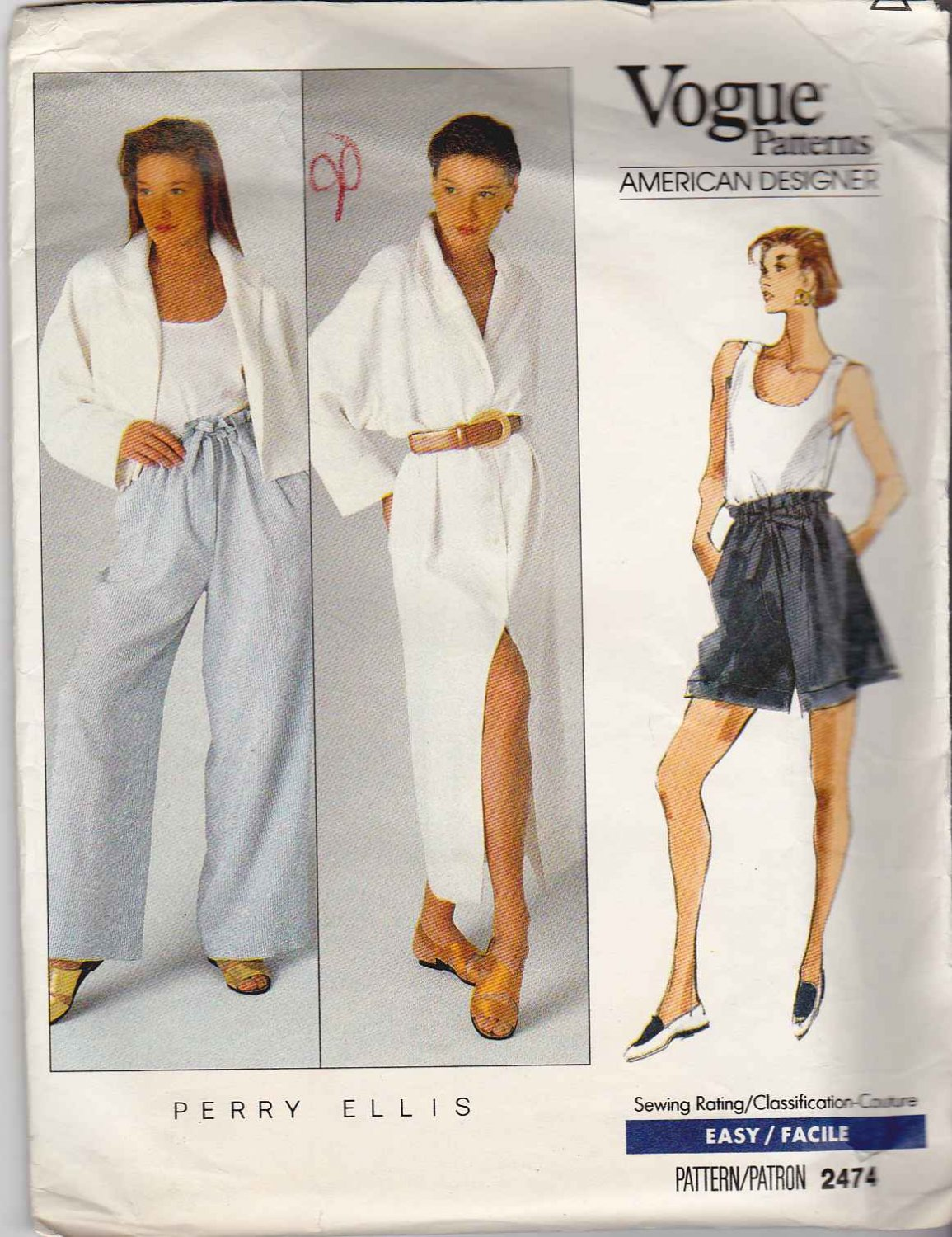 Vogue Sewing Pattern 2474 Misses Size 6-10 Easy Perry Ellis Jacket Button Front Dress Shorts Pants