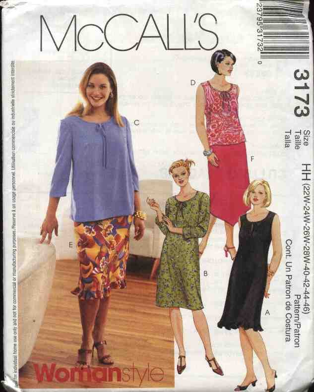 McCall�s® Sewing Pattern 3173 Womans Plus Size 18W-24W Pullover Dress Top Pull on Straight Skirt