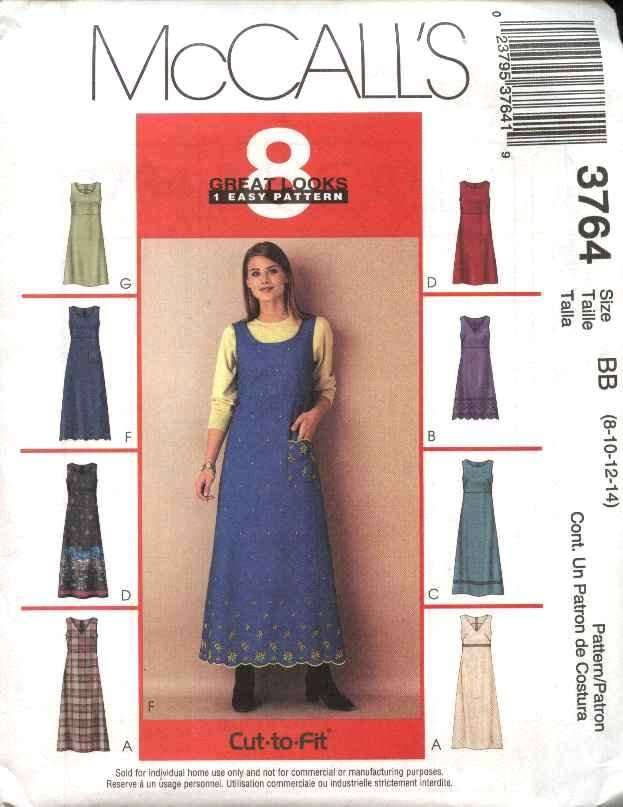 McCall's Sewing Pattern 3764 Misses Size 16-22 Easy Raised Waist Empire Dress Jumper