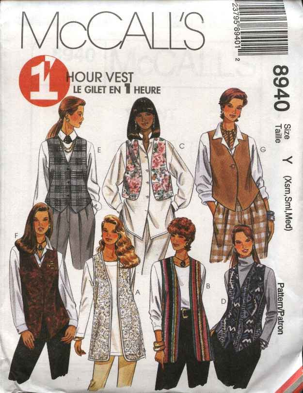 McCall's Sewing Pattern 8940 Misses Size 16-22 Easy 1 Hour Long Short Optional Closure Vests