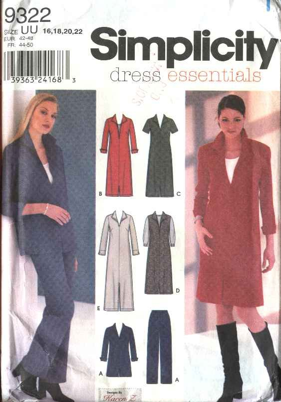 Simplicity Sewing Pattern 9322 Misses Size 16-22 Wardrobe Jumper Dress Tunic Pants