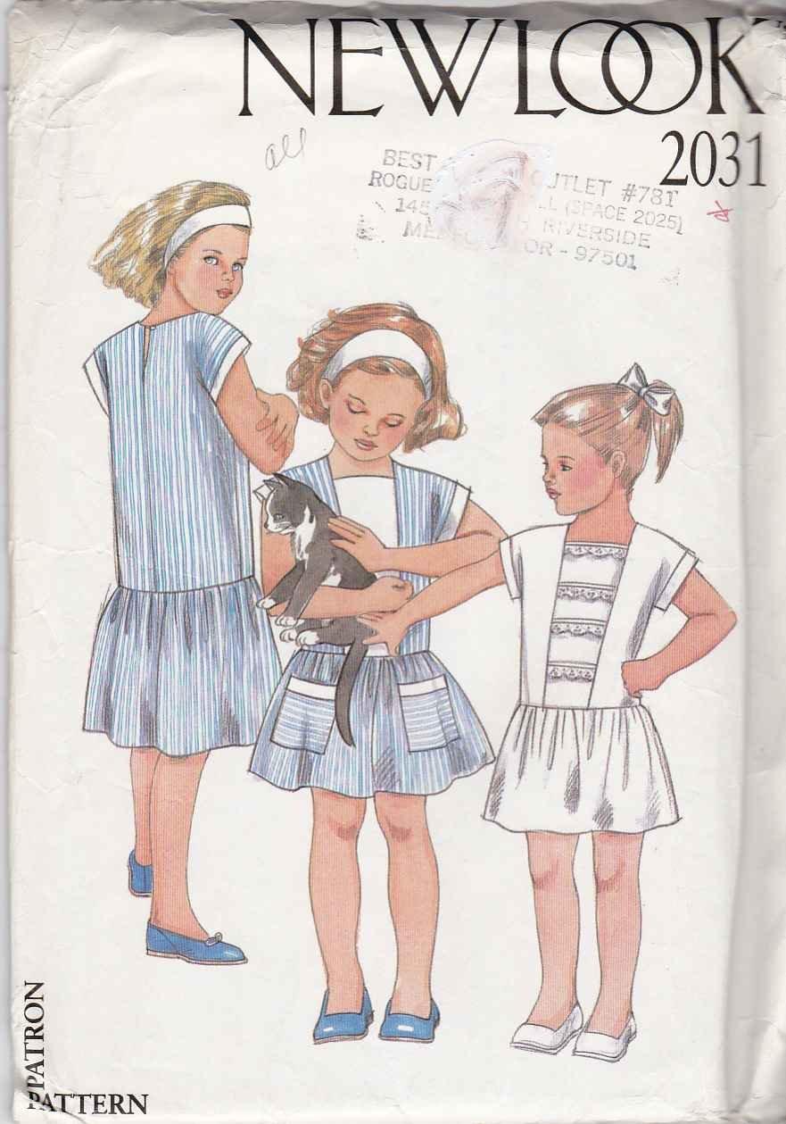 New Look Sewing Pattern 2031 Girls Size 2-7 Dropped Waist Cap Sleeve Summer Dress