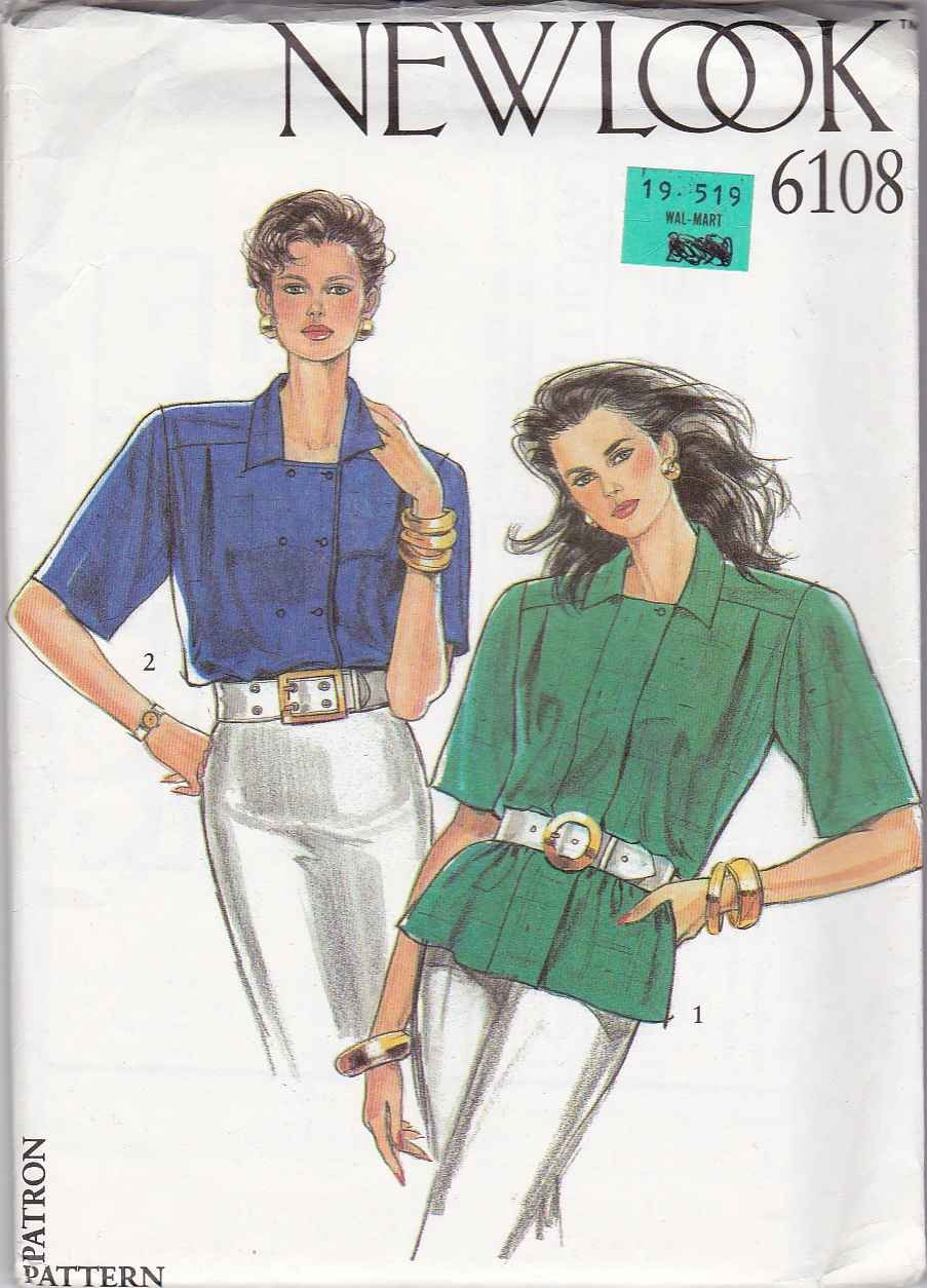 New Look Sewing Pattern 6108 Misses Size 8-18 Short Sleeve Double Breasted Blouse Shirt Top