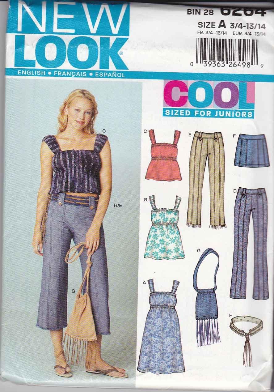 New Look Sewing Pattern 6264 Junior Size 3/4-13/14 Wardrobe Pants Top Dress Skirt Purse Belt
