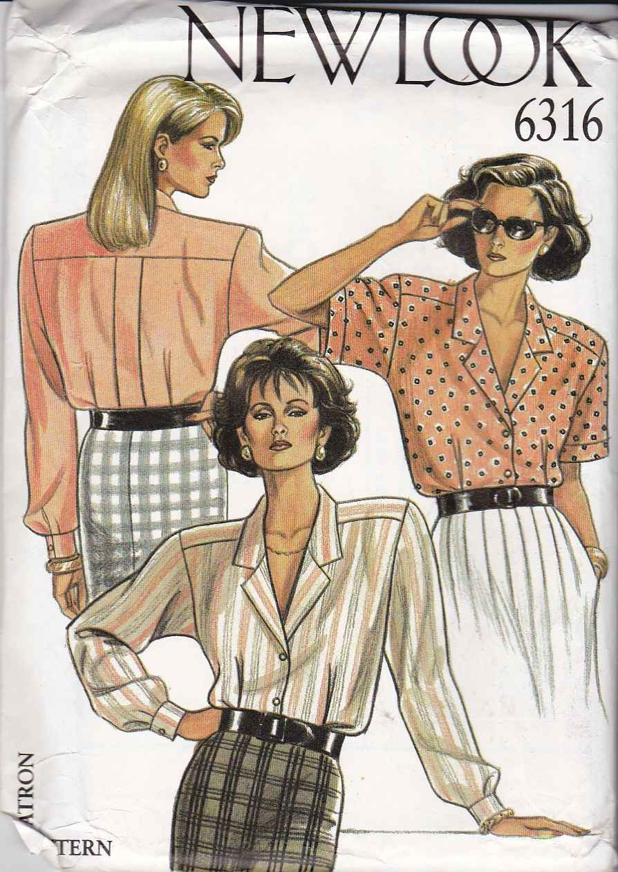 New Look Sewing Pattern 6316 Misses Size 8-18 Classic Short Long Sleeve Blouse Shirt Top