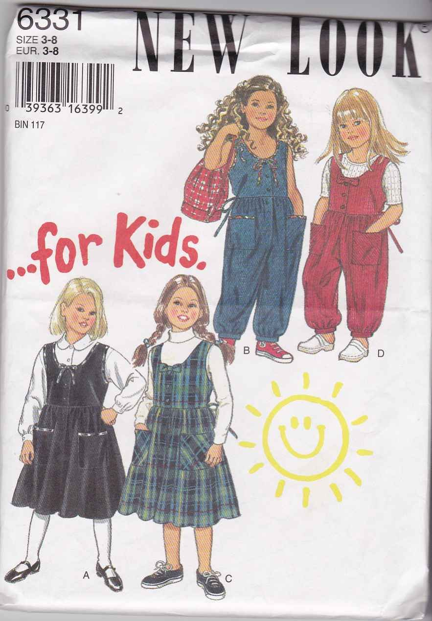New Look Sewing Pattern 6331 Girls Size 3-8 Gathered Skirt Jumper Jumpsuit Patch Pockets
