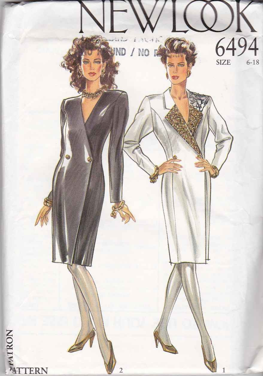 New Look Sewing Pattern 6494 Misses Size 6-18 Double Breasted Princess Seam Straight Dress