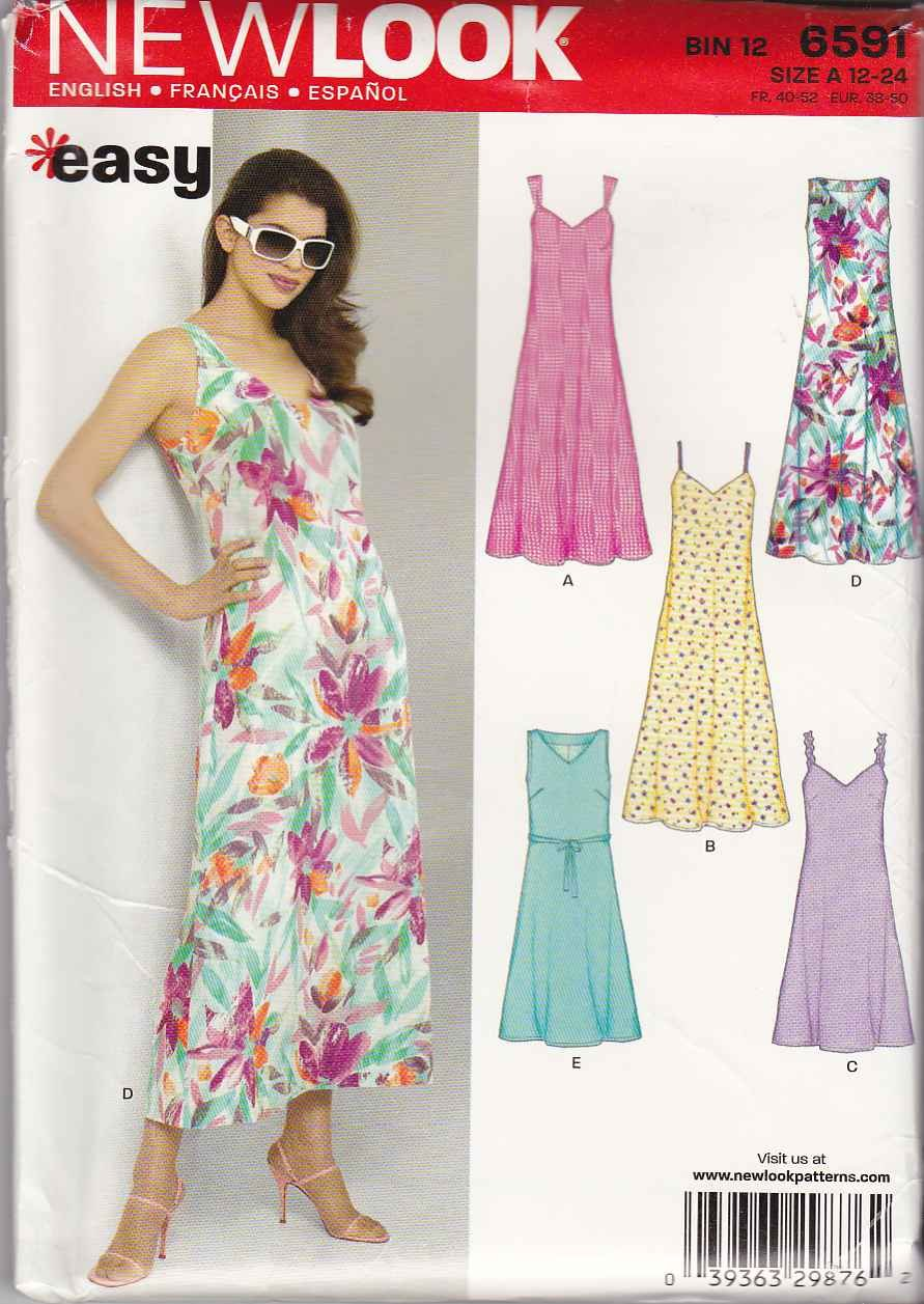New Look Sewing Pattern 6591 Misses Size 12-24 Easy Pullover A-Line Summer Sleeveless Dress
