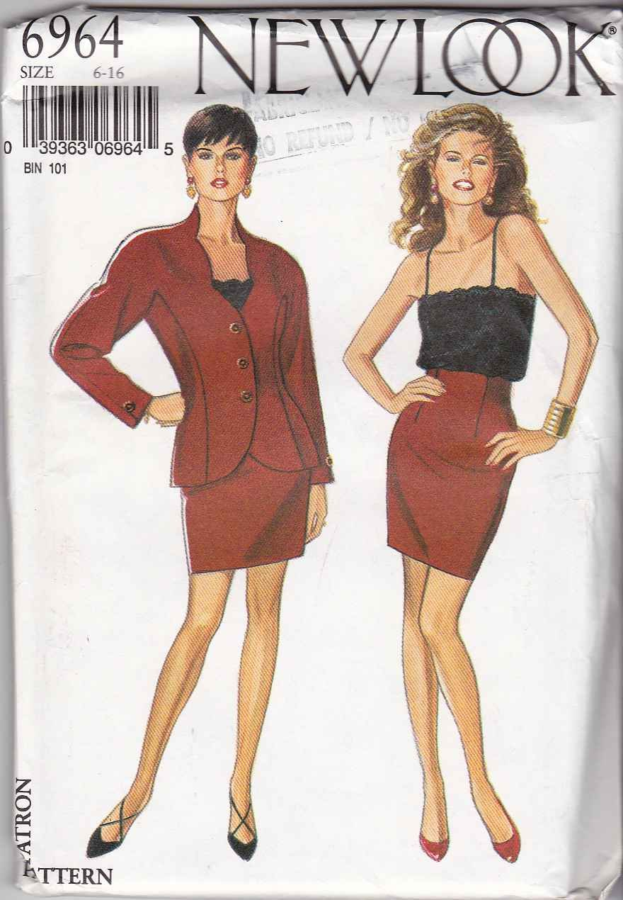 New Look Sewing Pattern 6964 Misses Size 6-16 Suit Jacket Raised Waist Straight Skirt Camisole