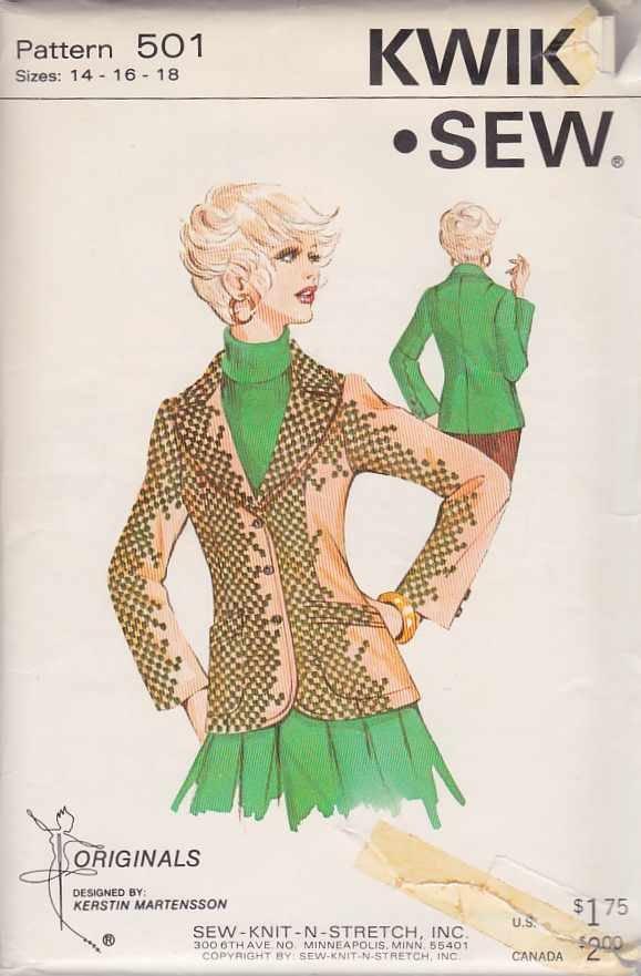 Kwik Sew Sewing Pattern 501 Misses Size 14-16-18 Ladies Fitted Princess Seam Blazer Jacket USED