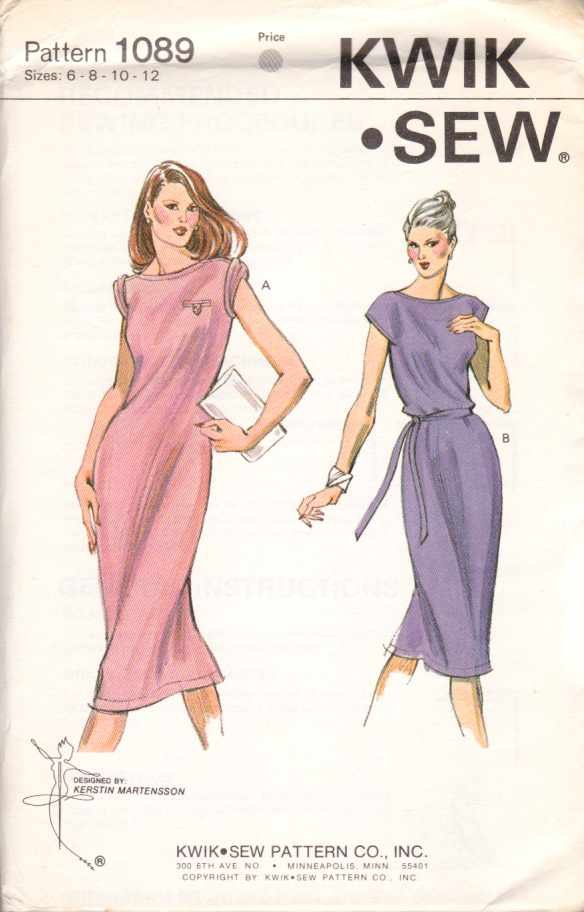 Kwik Sew Sewing Pattern 1089 Misses Size 6-8-10-12 Pullover Knit T-Shirt Dress Belt
