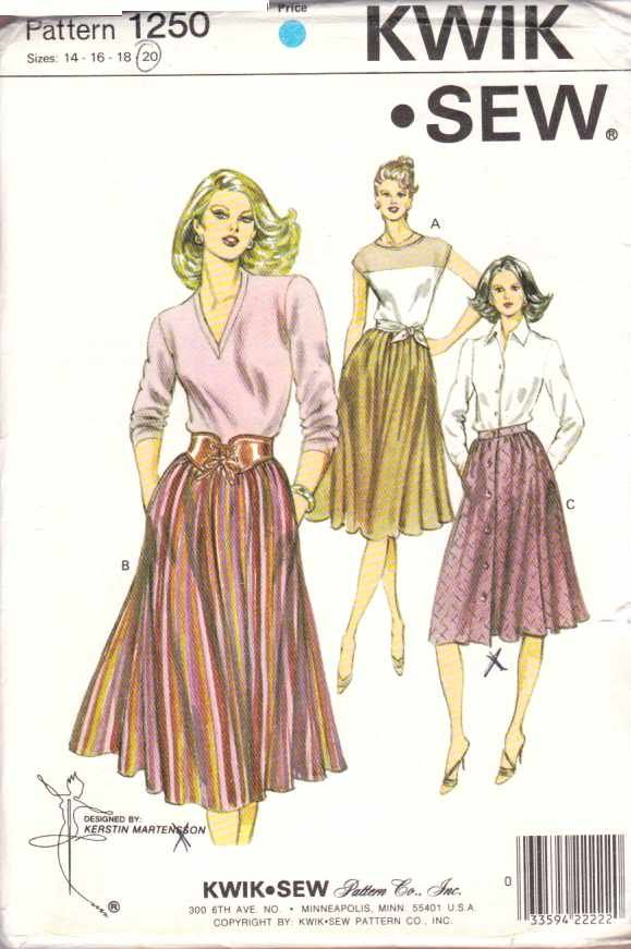 Kwik Sew Sewing Pattern 1250 Misses Size 14-16-18-20 Gathered Skirt Optional Front Buttons