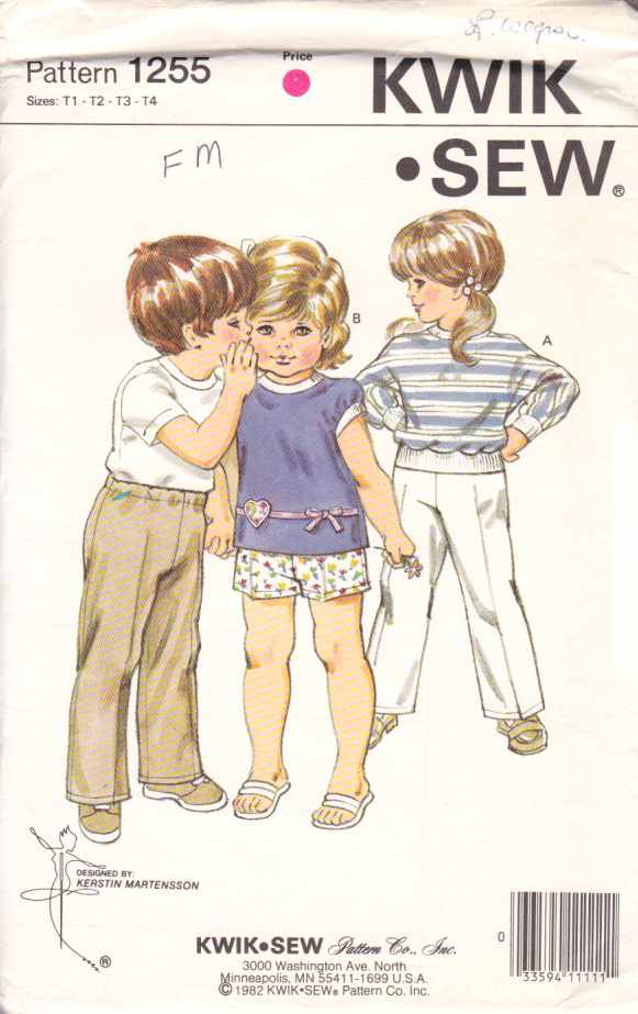 Kwik Sew Sewing Pattern 1255 Toddler Boys Girls Size 1-4 Pullover Knit Top Pants Shorts Used