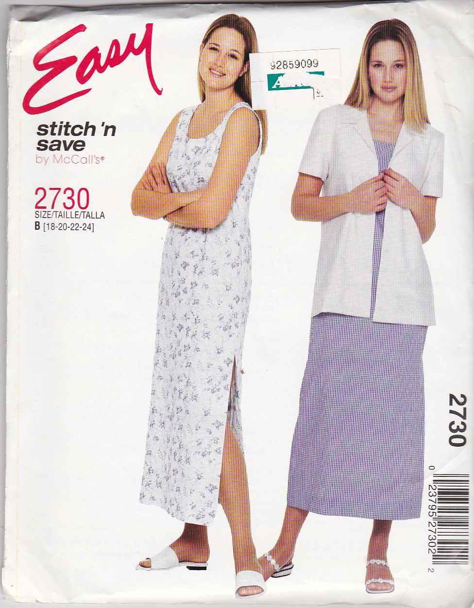 McCall's Sewing Pattern 2730 Misses' Sizes 18-24 Easy Long Sleeveless Straight Dress Jacket