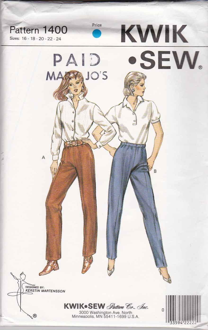Kwik Sew Sewing Pattern 1400 Misses Size 16-24 Classic Knit Long Tapered Straight Legged Pants