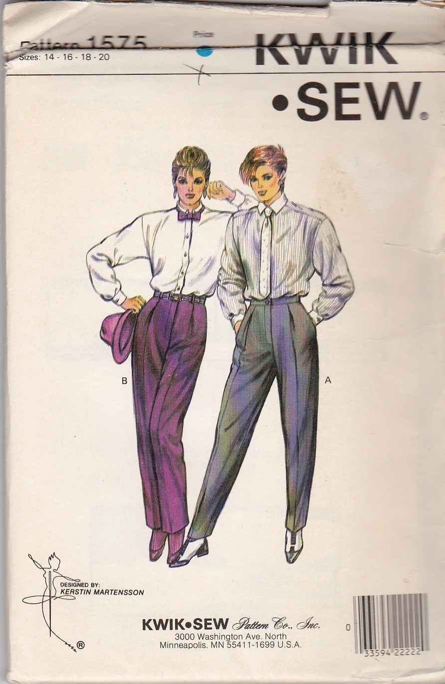 Kwik Sew Sewing Pattern 1575 Misses Size 14-20 Classic Pleated Pants Slacks Trousers