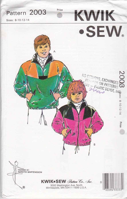 Kwik Sew Sewing Pattern 2003 Boys Girls' Size 8-14 Long Sleeve Zipper Front Pullover Jacket