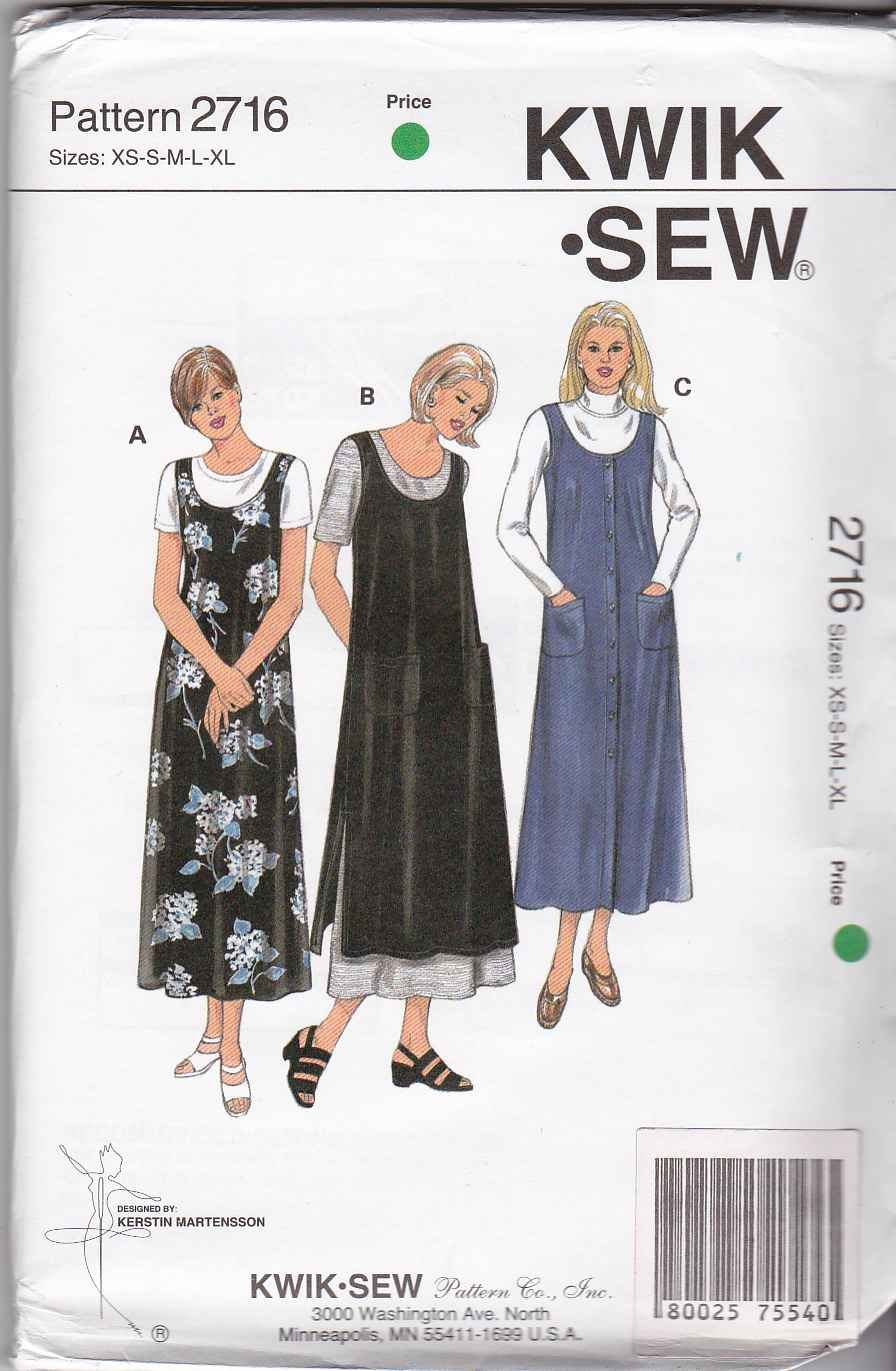 Kwik Sew Sewing Pattern 2716 Misses Size XS-XL  Flared Pullover Button Front Jumper Pinafore