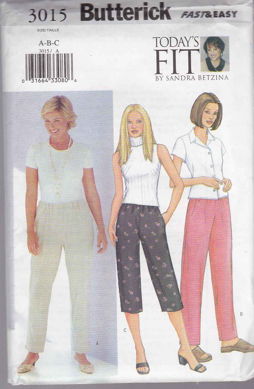 Butterick Sewing Pattern 3015 Misses Size 10-14 Today's Fit Sandra Betzina Easy Pull On Pants