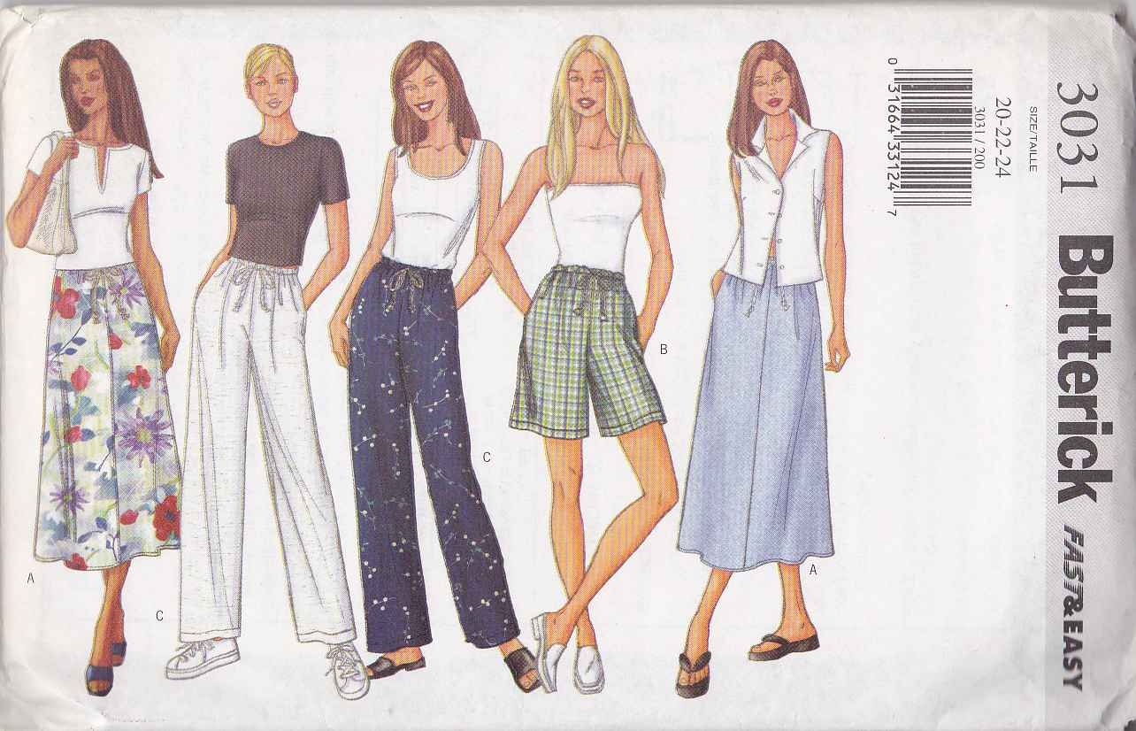 Butterick Sewing Pattern 3031 Misses Size 20-24 Easy A-Line Skirt Pants Shorts
