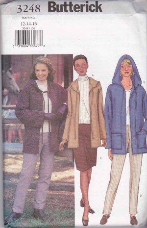 Butterick Sewing Pattern 3248 Misses Size 12-16 Easy Hooded Fleece Jacket Skirt Pants
