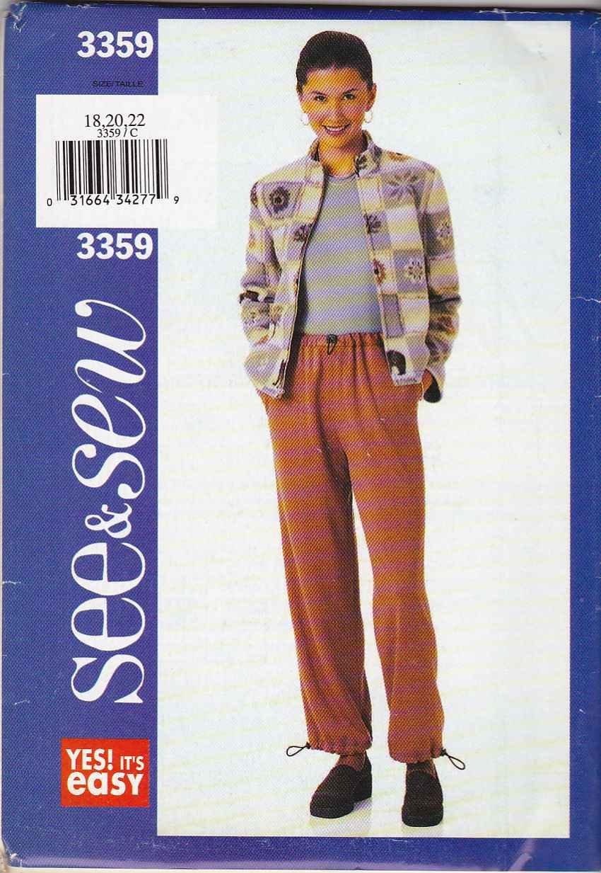 Butterick Sewing Pattern 3359 B3359 Misses Size 18-22 Easy Zipper Front Fleece Jacket Pants