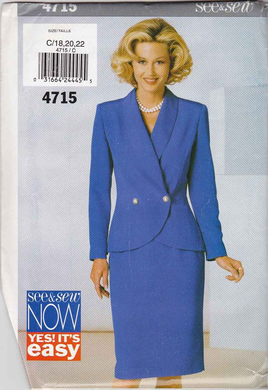 Butterick Sewing Pattern 4715 Misses Size 18-22 Easy Suit Shawl Collar Jacket Straight Skirt