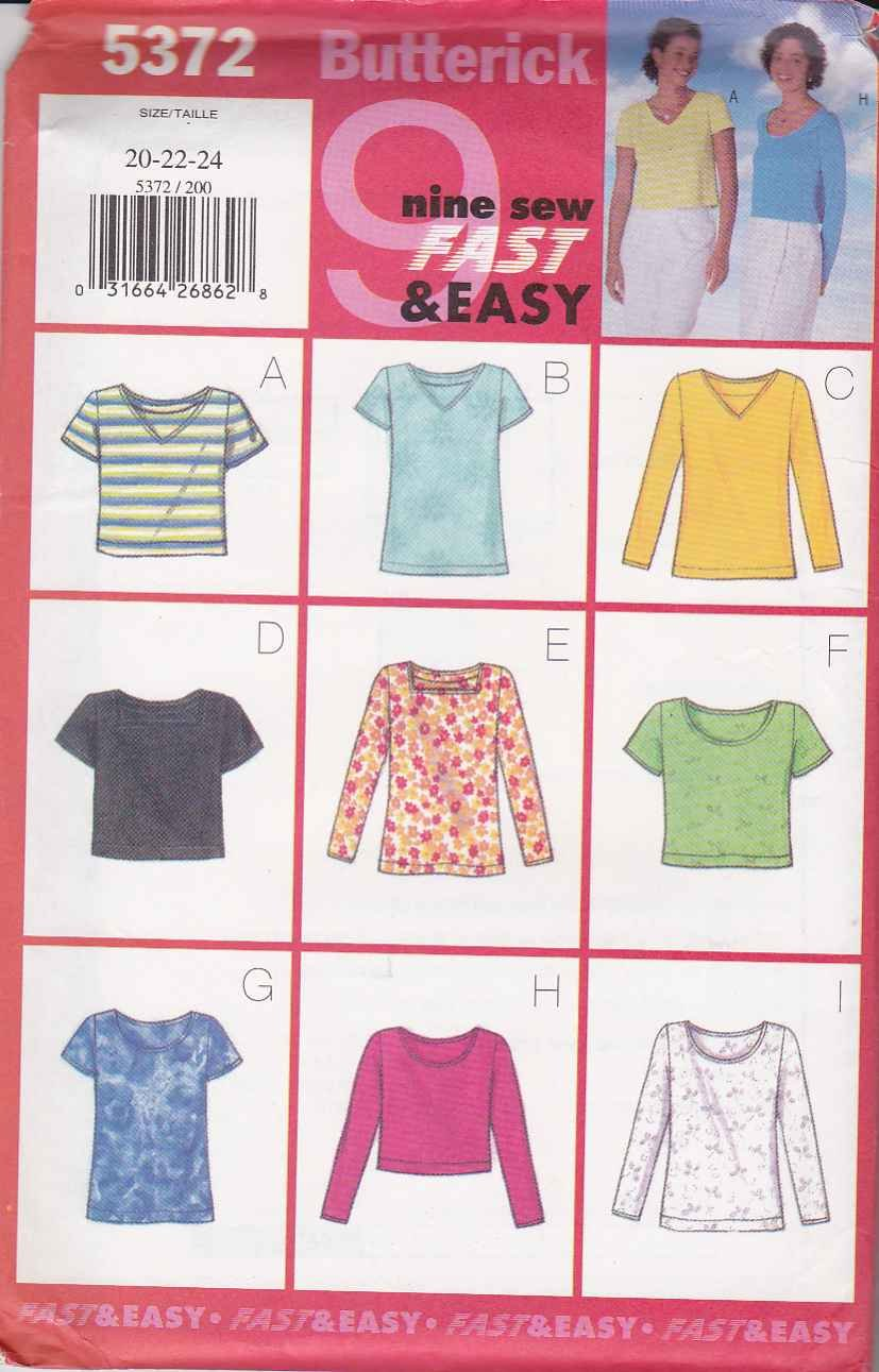Butterick Sewing Pattern 5372 Misses Size 20-22-24 Easy Pullover Knit Tops Sleeve Neck Options