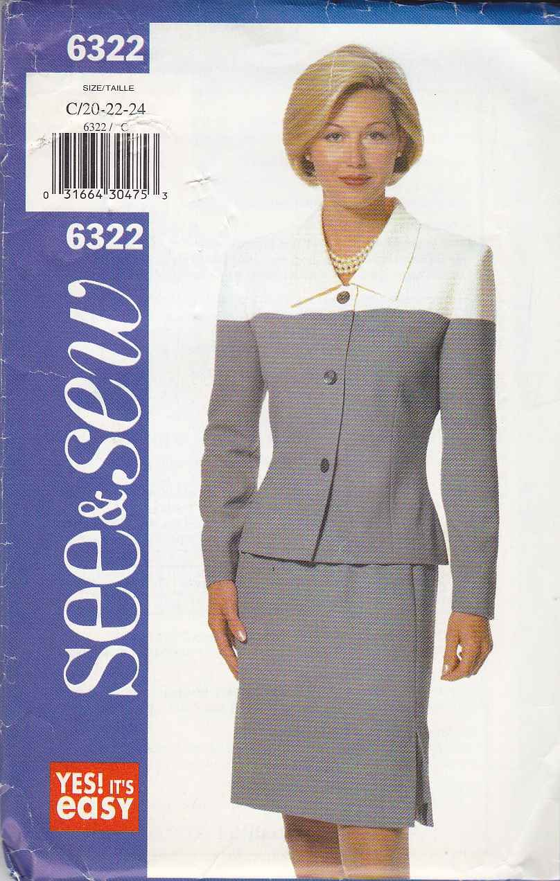 Butterick Sewing Pattern 6322 Misses Size 20-24 Easy Suit Straight Skirt Color Contrast Jacket