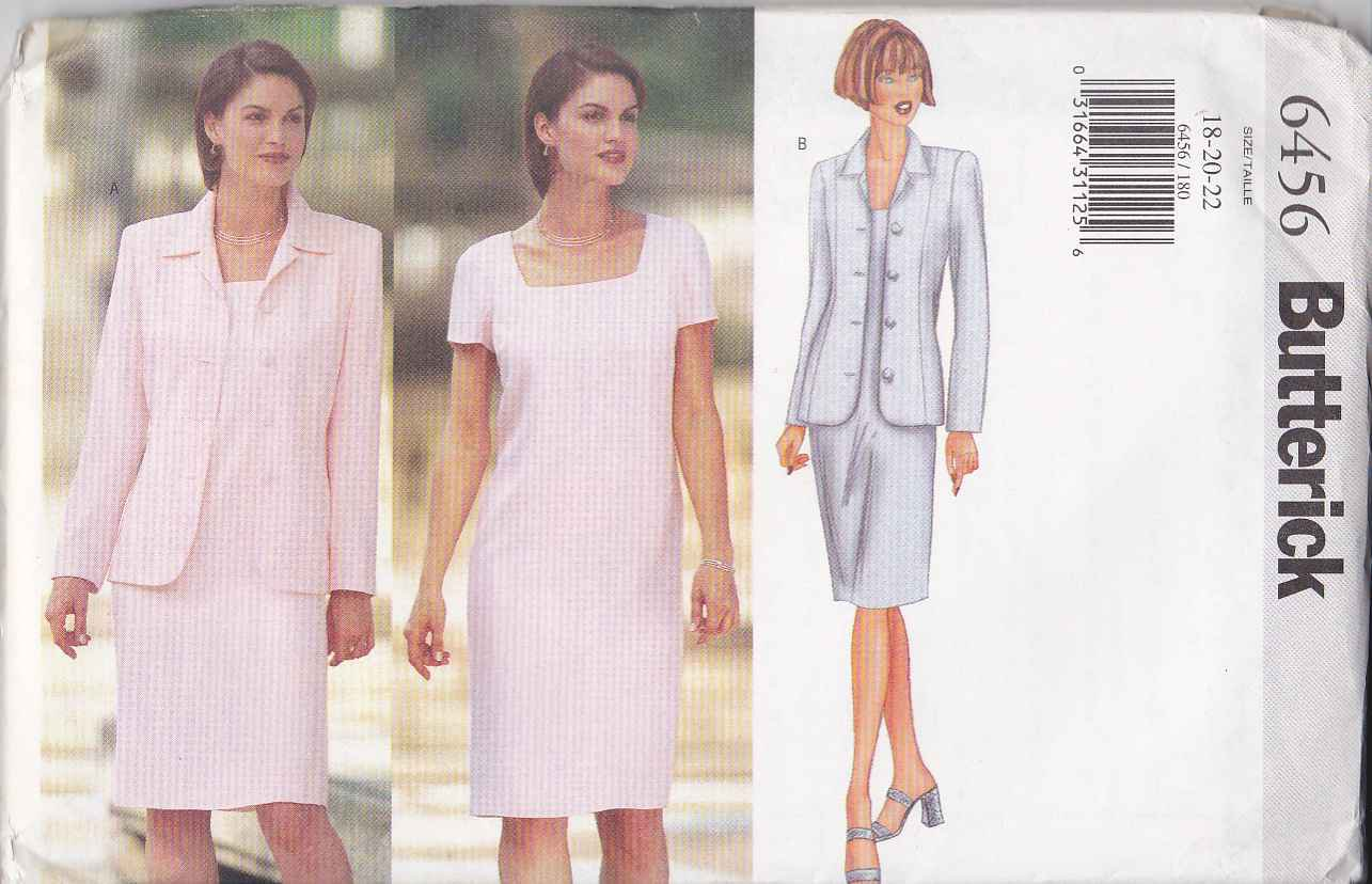 Butterick Sewing Pattern 6456 Misses Size 18-22 Easy Straight Dress Button Front Jacket