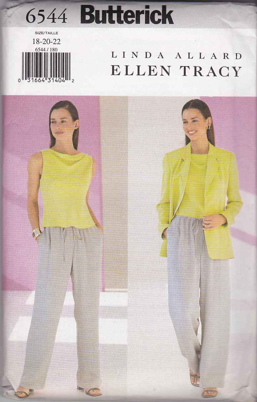 Butterick Sewing Pattern 6544 Misses Size 18-22 Long Sleeve Jacket Sleeveless Top Pants
