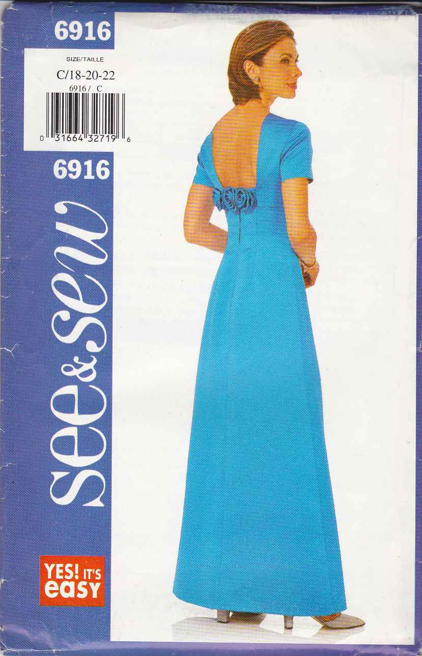 Butterick Sewing Pattern 6916 Misses Size 18-22 Easy Raised Waist Formal Evening Prom Dress