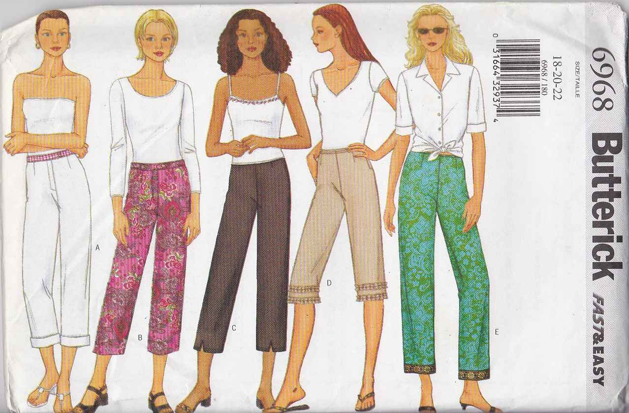 Butterick Sewing Pattern 6968 B6968 Misses Size 18-22 Easy Low Rise Straight Leg Pants Capri Cropped