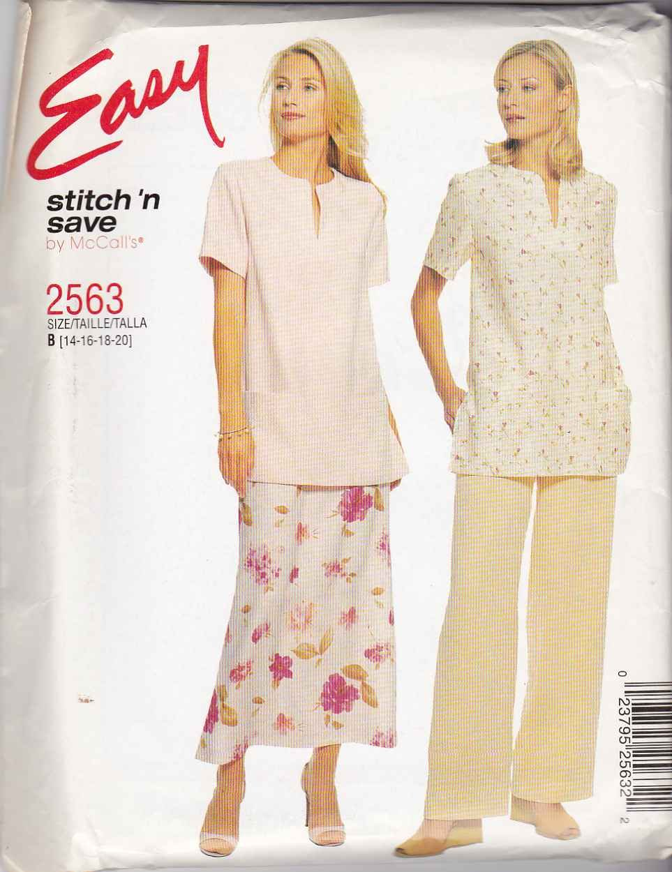 McCall's Sewing Pattern 2563 Misses Size 14-20 Easy Pullover Top Pants A-Line Skirt