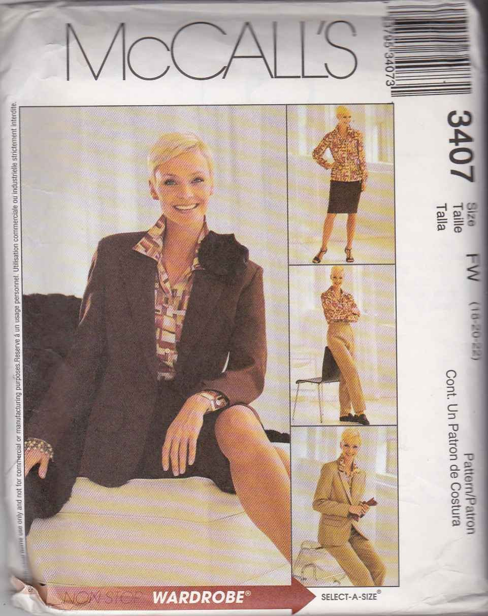 McCall's Sewing Pattern 3407 Misses Size 18-22 Wardrobe Jacket Blouse Straight Skirt Pants