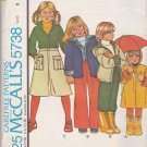 McCall's Sewing Pattern 5738 Boys Girls Size 6 Wardrobe Hooded Coat Jacket Shirt Pants Culottes