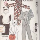 McCall's Sewing Pattern 6809 M6809 Boys' Girls' Size 4-5 Costumes Panda Bear Dog Cat Elephant