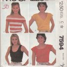 McCall's Sewing Pattern 7594 Misses Size 10-12 Easy Knit Pullover Tops Sleeve Neckline Options