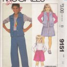 McCall's Sewing Pattern 9151 Girls Size 12 Wardrobe Knit Fleece Vest Long Sleeve Top Skirt Pants
