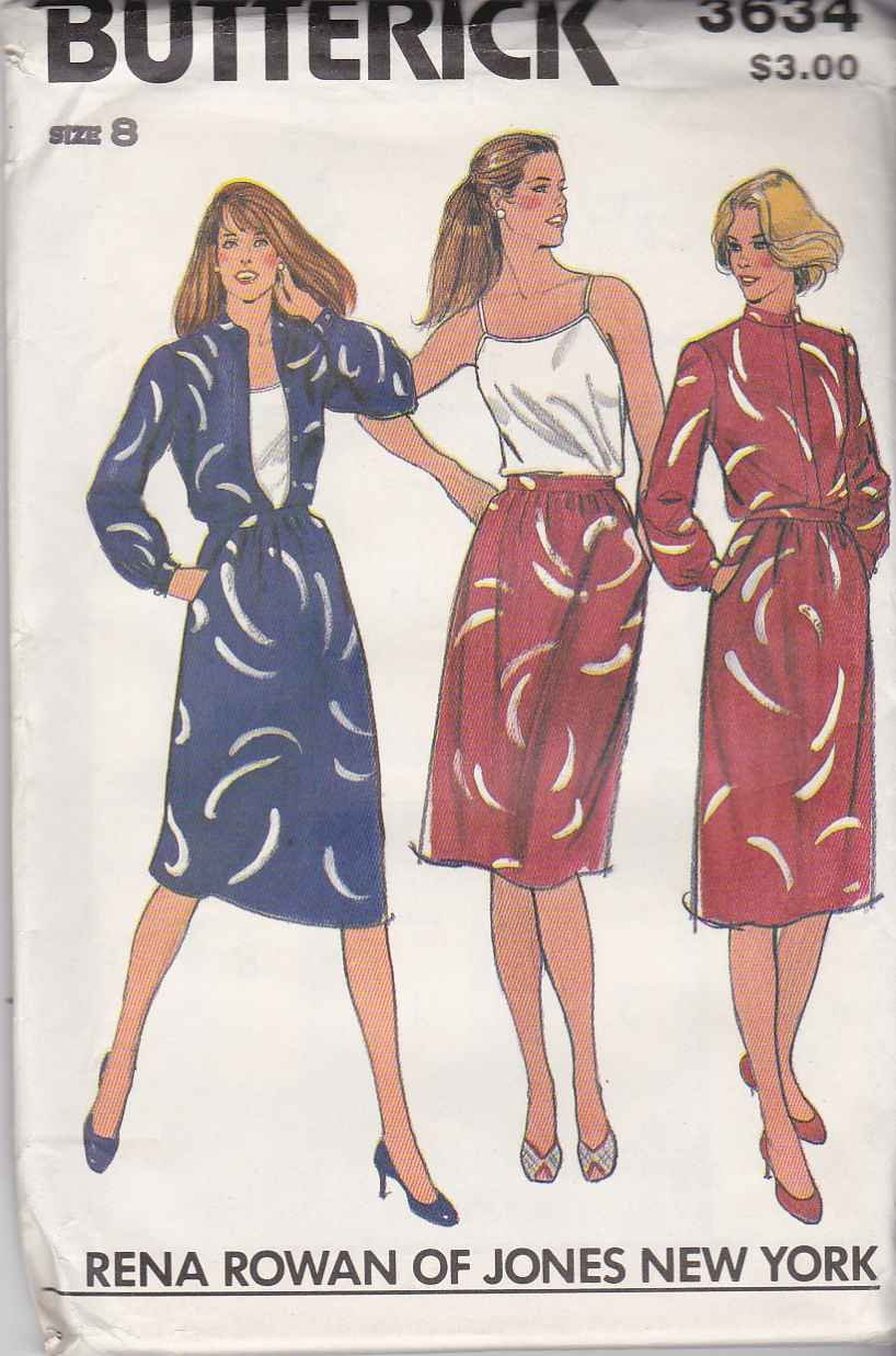 Butterick Sewing Pattern 3634 B3634 Misses Size 8 Rena Rowan Skirt Blouse Camisole Two Piece Dress