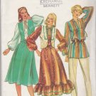 Butterick Sewing Pattern 3906 Misses Size 8 Boho Full Skirt Ruffled Hem Vest Long Sleeve Tunic Top