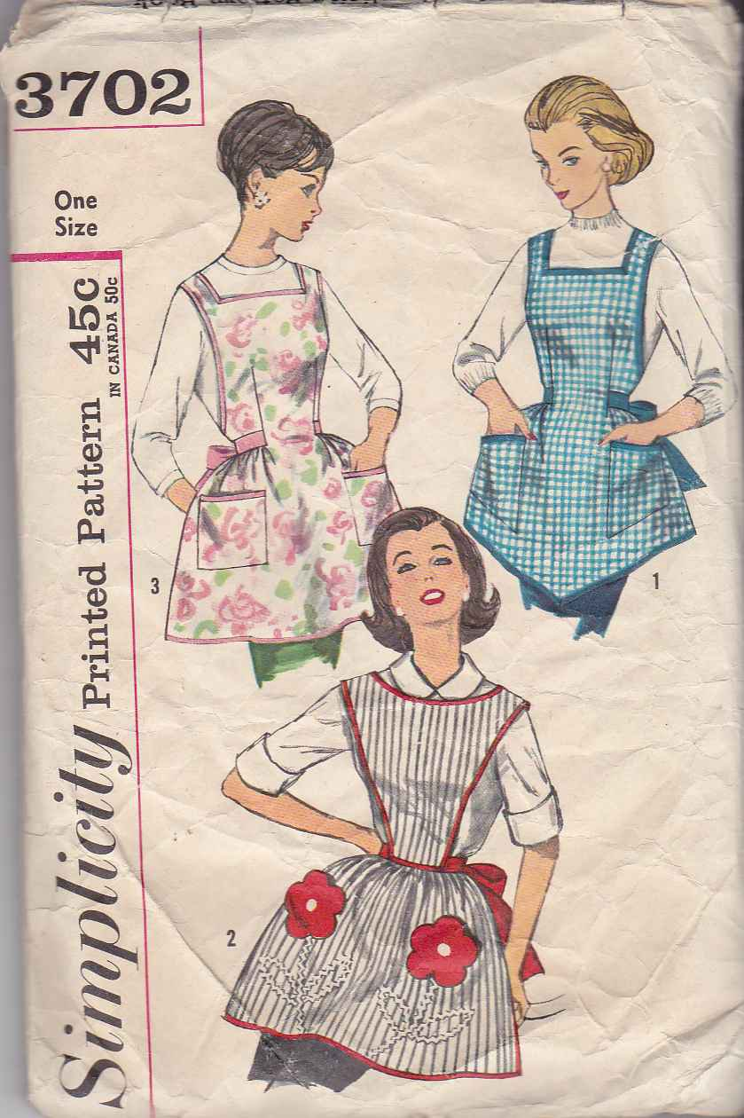 Vintage 1960's Simplicity Sewing Pattern 3702 Misses One Size Bib Aprons One-Yard USED