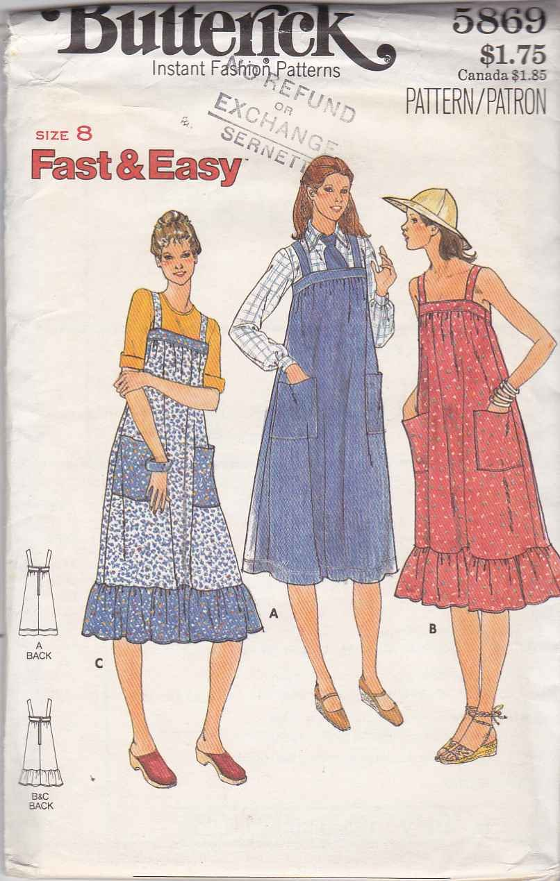 Butterick Sewing Pattern 5869 Misses Size 8 Easy Sleeveless Dress Jumper Sundress Maternity Dress