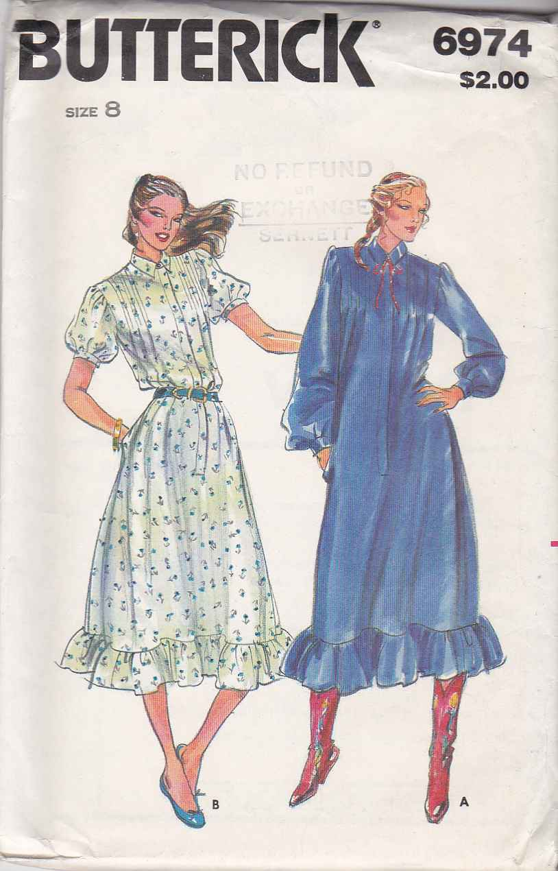 Butterick Sewing Pattern 6974 Misses Size 8 Loose-Fitting Dress Short Long Sleeves Front Button
