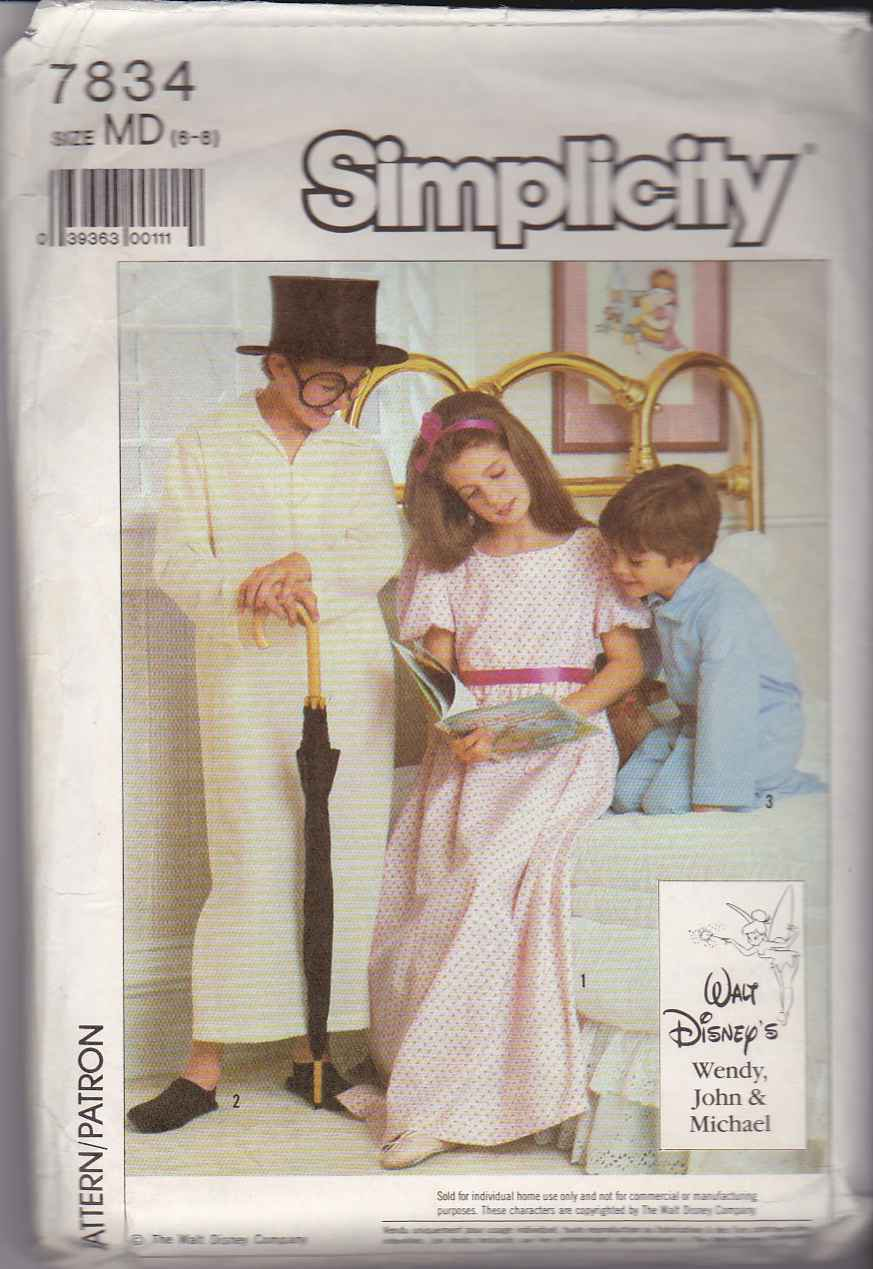 Simplicity Sewing Pattern 7834 Boys Girls Size 6 8 Peter