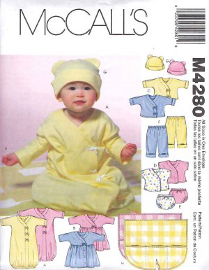 McCall's Sewing Pattern 4280 Infant Baby Size 13-24# Knit Layette Gown Dress Top Panties Pants Hat