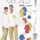 McCall's Sewing Pattern 5511 M5511 Misses Mens Chest Size 29 1/2-36 Dog Top Nightshirt Pants Pajama
