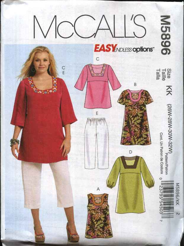 Mccall S Sewing Pattern 5896 Womans Plus Size 18w 24w Easy