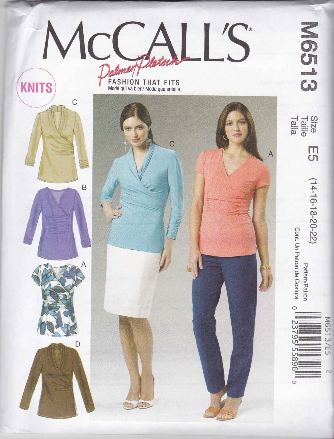 McCall's Sewing Pattern 6513 Misses Size 6-14 Pullover Knit Mock Wrap Front Tops Sleeve Options