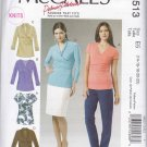 McCall's Sewing Pattern 6513 Misses Size 14-22 Pullover Knit Mock Wrap Front Tops Sleeve Options